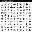 100 fun icons set, simple style