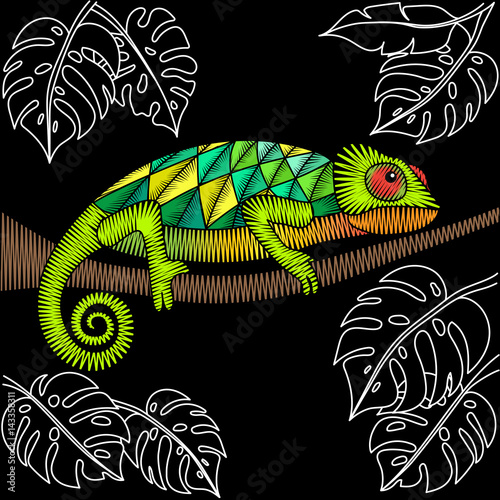 Embroidery Design With Chameleon Lizard Natural Artwork For Clothing Patches And Stickers Decorative