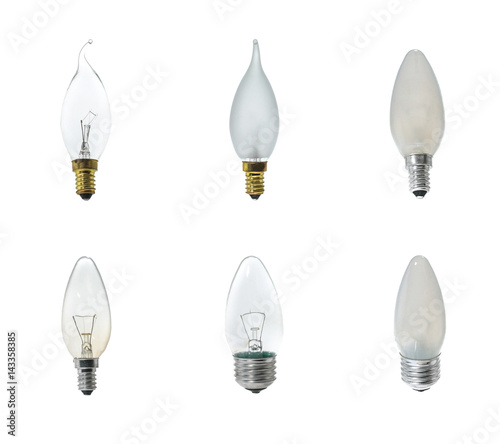 Set Of Halogen Bulbs On White Background Collection Diffe Kind Light