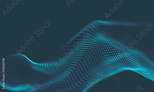 Photo Stands Fractal waves Abstract Blue Geometrical Background . Connection structure. Science background. Futuristic Technology HUD Element . Сonnecting dots and lines . Big data visualization and Business .