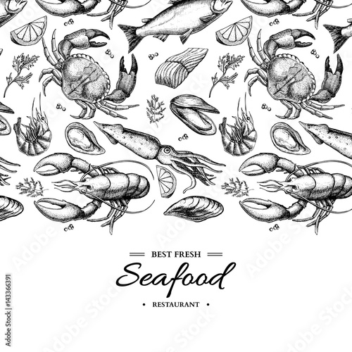 Photo  Seafood hand drawn vector framed illustration