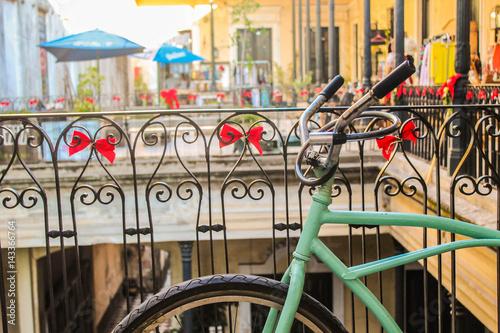 Deurstickers Fiets Turquoise Vintage Bike