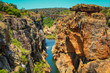 canvas print picture - Bridge over the canyon at the Bourke's Luck potholes in the Blyde river, Mpumalanga, South Africa