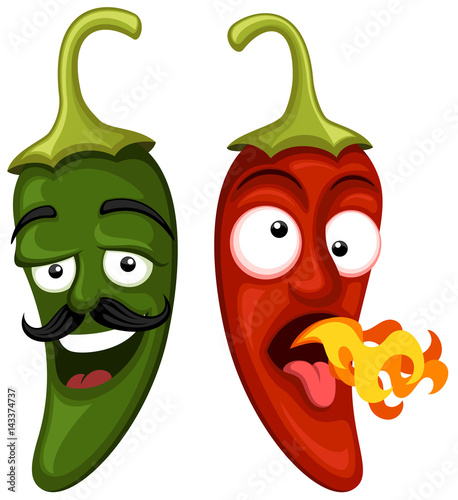 vector illustration of two cartoon jalape o peppers one green and rh stock adobe com funny cartoon jalapeno funny cartoon jalapeno