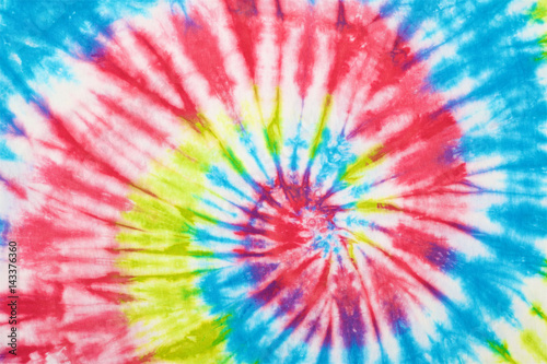 Fotografia  close up shot of tie dye fabric texture background