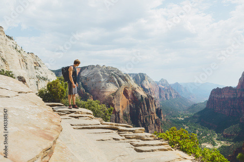 USA, Utah, Man looking at view in Zion National Park