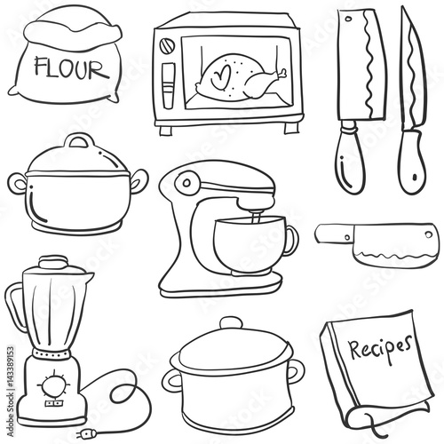 Kitchen Set Hand Draw Cartoon Doodles Buy This Stock Vector And