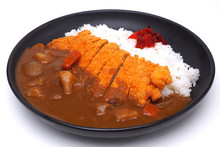 Curry Rice With Deep Fried Pork Or Katsu-kare , Japanese Style Food , Isolated On White Background (Clipping Path)
