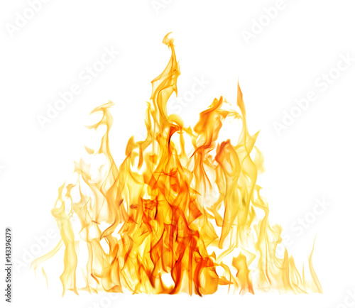 Recess Fitting Fire / Flame high yellow flame with dark center isolated on white