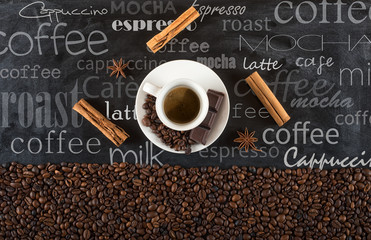 Fototapeta Do kawiarni Background of cup coffee beans with cinnamon and anise