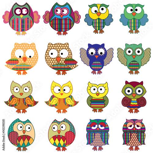 Canvas Prints Sixteen cartoon ornate funny owls