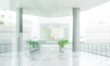 Leinwandbild Motiv Blured of empty white modern terrace building background.For montage product display or key visual layout background.