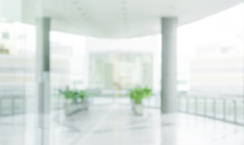 Blured Of Empty White Modern Terrace Building Background.For Montage Product Display Or Key Visual Layout Background.