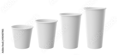 Valokuvatapetti White paper cup isolated on white background, 3D rendering