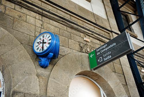 Canvas Clock in the train station of Santiago de Compostela, Galicia, Spain