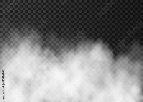 Poster Fumee White fog or smoke isolated on dark transparent background.