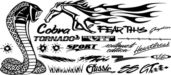 Car, Bike, Vehicle Graphics, Vinyls & Decals in isolated background in vector format