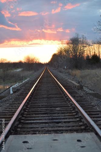 Poster Voies ferrées Train Track Sunset