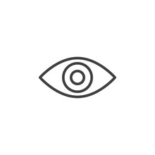 Eye Line Icon, Outline Vector Sign, Linear Style Pictogram Isolated On White. Symbol, Logo Illustration. Editable Stroke. Pixel Perfect