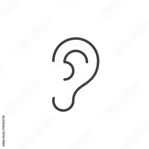 Ear, hearing line icon, outline vector sign, linear style pictogram isolated on white. Symbol, logo illustration. Editable stroke. Pixel perfect Wall mural