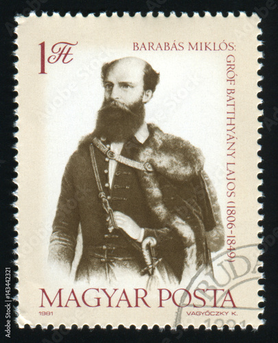 Photographie  HUNGARY - CIRCA 1981: A post stamp printed in Hungary shows Count Lajos Batthyan