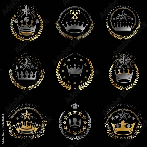 Fototapety, obrazy: Imperial Crowns emblems set. Heraldic Coat of Arms, vintage vector logos collection.