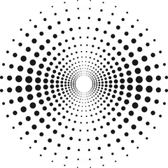 Fototapeta Circle with dots for Design Project. Halftone effect vector illustration. Black dots on white background. Black and white Sunburst background. Round frame design template.