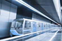 Arriving Subway Train At Metro...