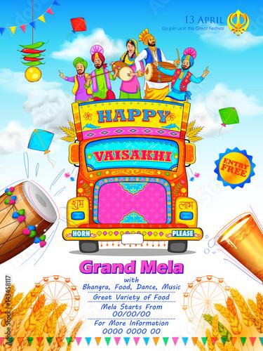 Fényképezés  Happy Vaisakhi Punjabi festival celebration background