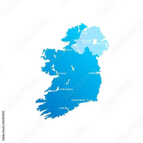 Ireland Cities Map Wallpaper Mural