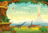 Fototapeta Dinusie - Prehistoric landscape with dinosaurs, volcano and fern.