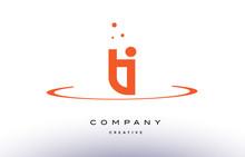 TI T I Creative Orange Swoosh Alphabet Letter Logo Icon