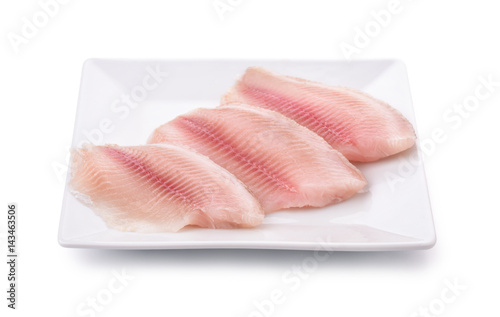 Fotografia Plate with fresh raw fish fillet