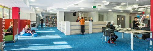 University library with blue floor Wallpaper Mural