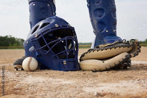 Fotografie, Obraz  Blue and White Men's baseball catcher's gear