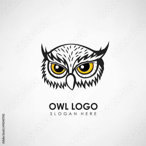 Photo Stands Owls cartoon Owl head concept logo template. Label for company or organization. Vector illustration