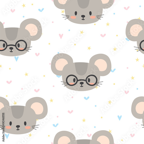 Cotton fabric Cute seamless pattern for children with funny mouse. Smile characters