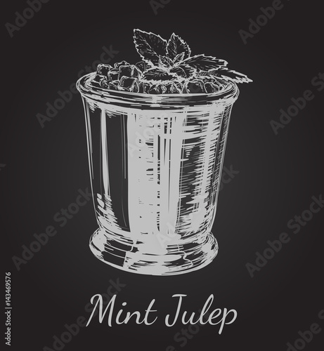 Cocktail Mint Julep for the Derby Hand Drawing Vector Illustration Canvas-taulu