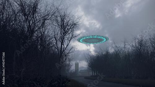 Türaufkleber UFO 3D UFO over the old road