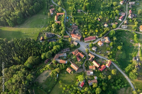 Valokuva  Krckovice village, Bohemia paradise, aerial photo.