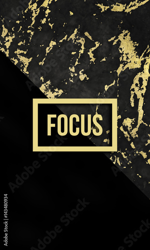 Focus motivational quote on modern marble texture. Canvas Print