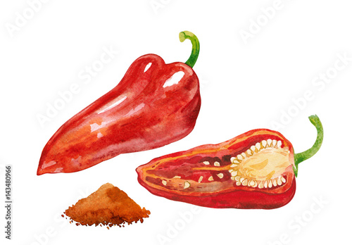 Cuadros en Lienzo Pepper capsicum, halved paprika and dried ground spices