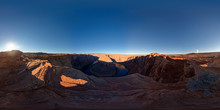 A Panoramic 360 Degree View Of The Famous Horseshoe Bend Near Page, Arizona
