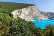 Amazing panorama of blue waters of Porto Katsiki Beach, Lefkada, Ionian Islands, Greece