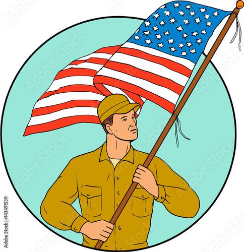 American Soldier Waving Usa Flag Circle Drawing Buy This Stock