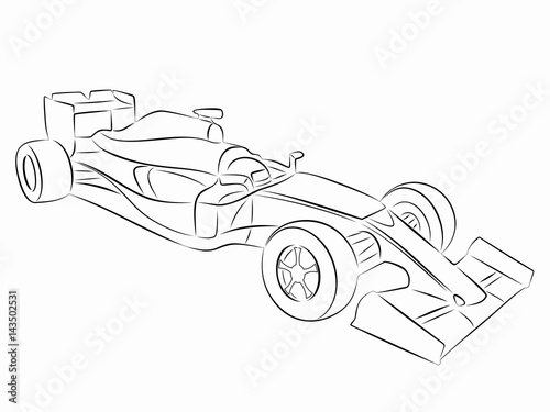 Tuinposter F1 illustration of a formula F1 racer, vector draw