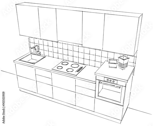 Top View Of Small Modular Kitchen Outline Black And White Sketch Isolated Buy This Stock Illustration And Explore Similar Illustrations At Adobe Stock Adobe Stock