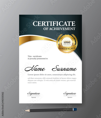 Certificate Templatea4 Size Diploma Vector Illustration Buy This