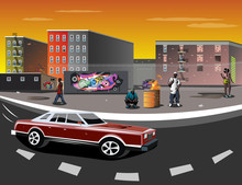 Illustration Of A Ghetto With ...