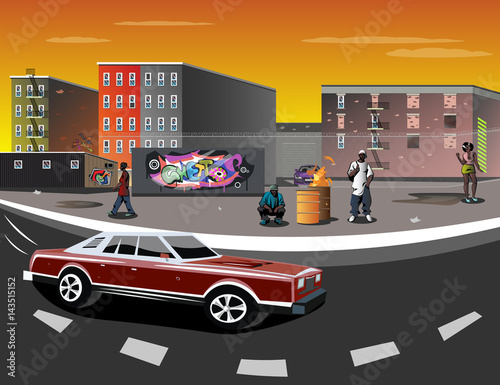 Illustration of a Ghetto with black people Wall mural